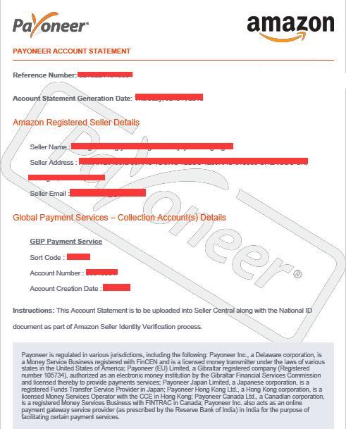 英国站签发KYC账单示例