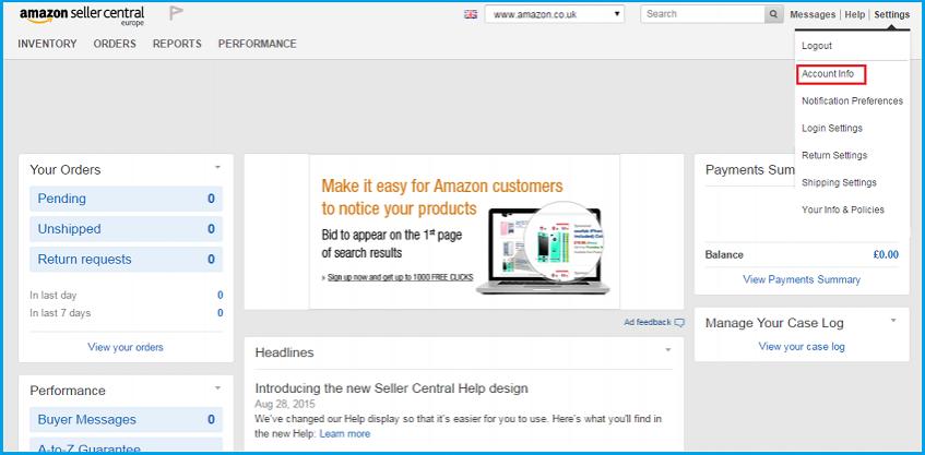亚马逊卖家账户信息