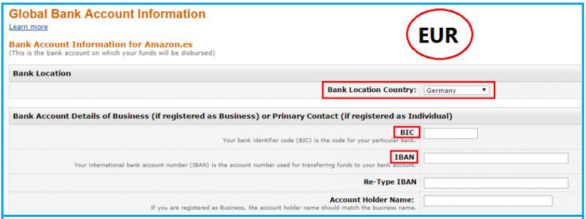 绑定欧元银行账户信息成功