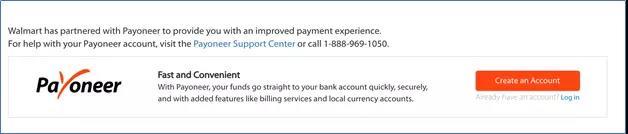 Walmart中设置Payoneer账户信息