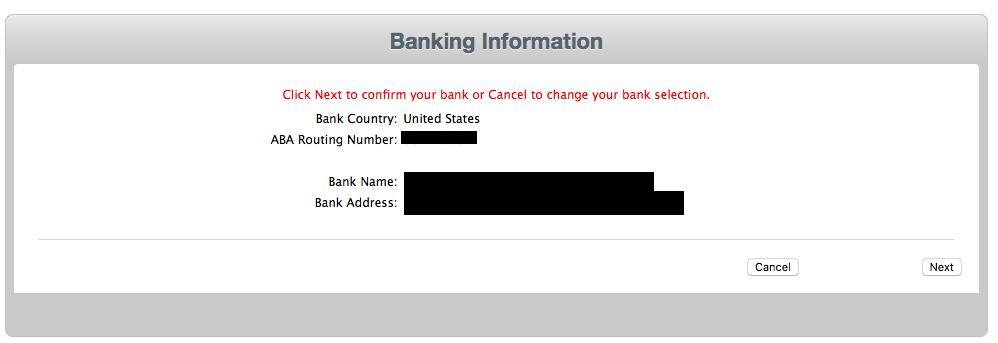填入银行名和银行地址