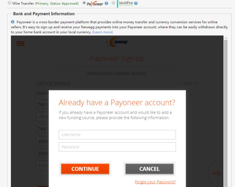 登陆Payoneer账户