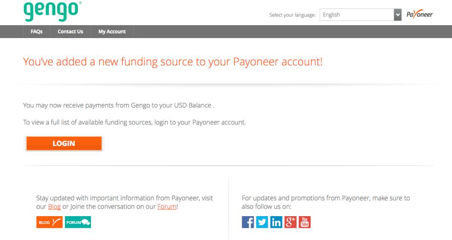 Payoneer绑定到Gengo成功