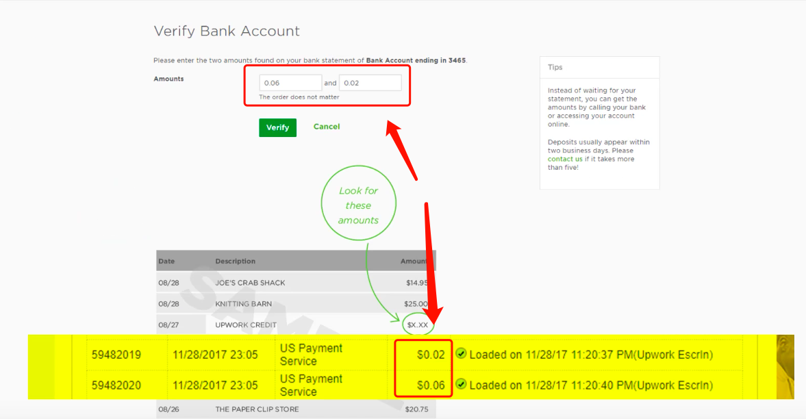 Verify两笔小金额验证款项