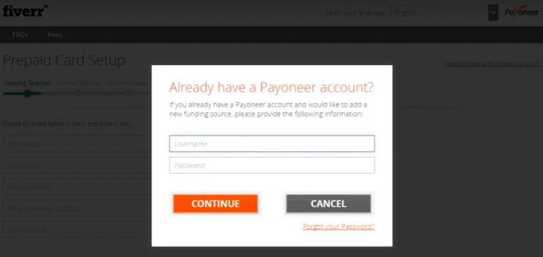 登陆Payoneer账户完成绑定