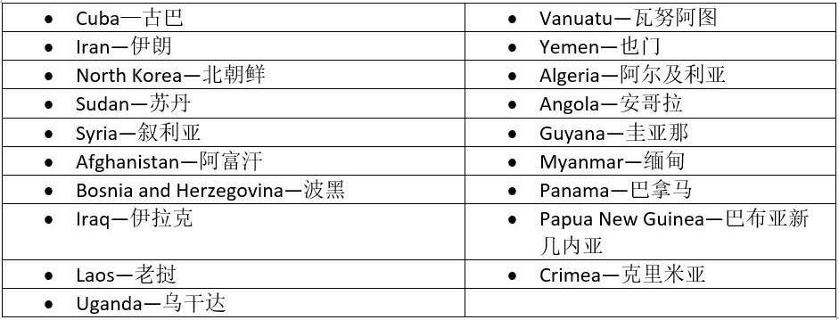 Payoneer外贸e户通电汇账户不支持的国家和地区