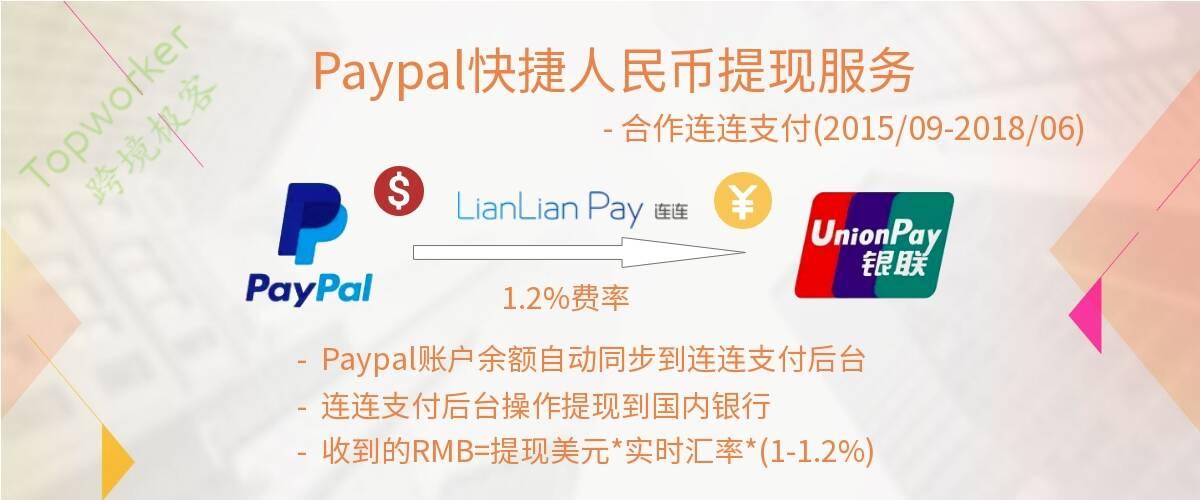 2015年9月Paypal合作连连支付快捷人民币提现
