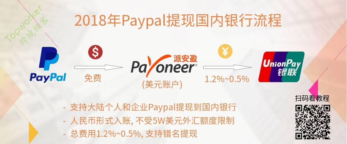 2018年Paypal免费转账Payoneer提现国内银行