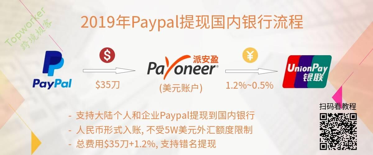 2019年Paypal转账Payoneer提现国内银行(总费率$35+1.2%
