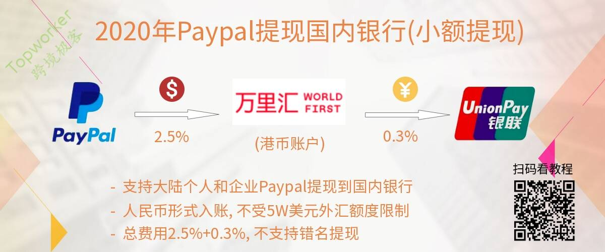 2020年Paypal转账WF香港银行提现国内银行示意图