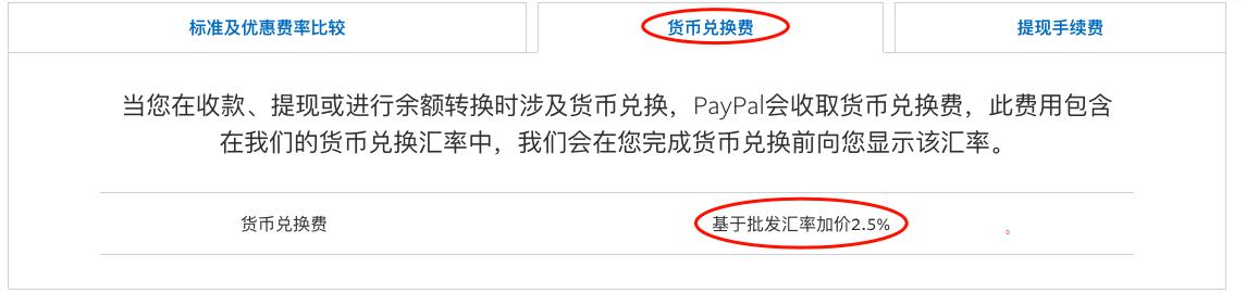 Paypal货币兑换费2.5%