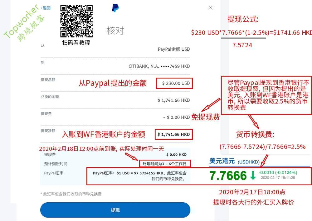 Paypal提现美元到香港银行账户计算