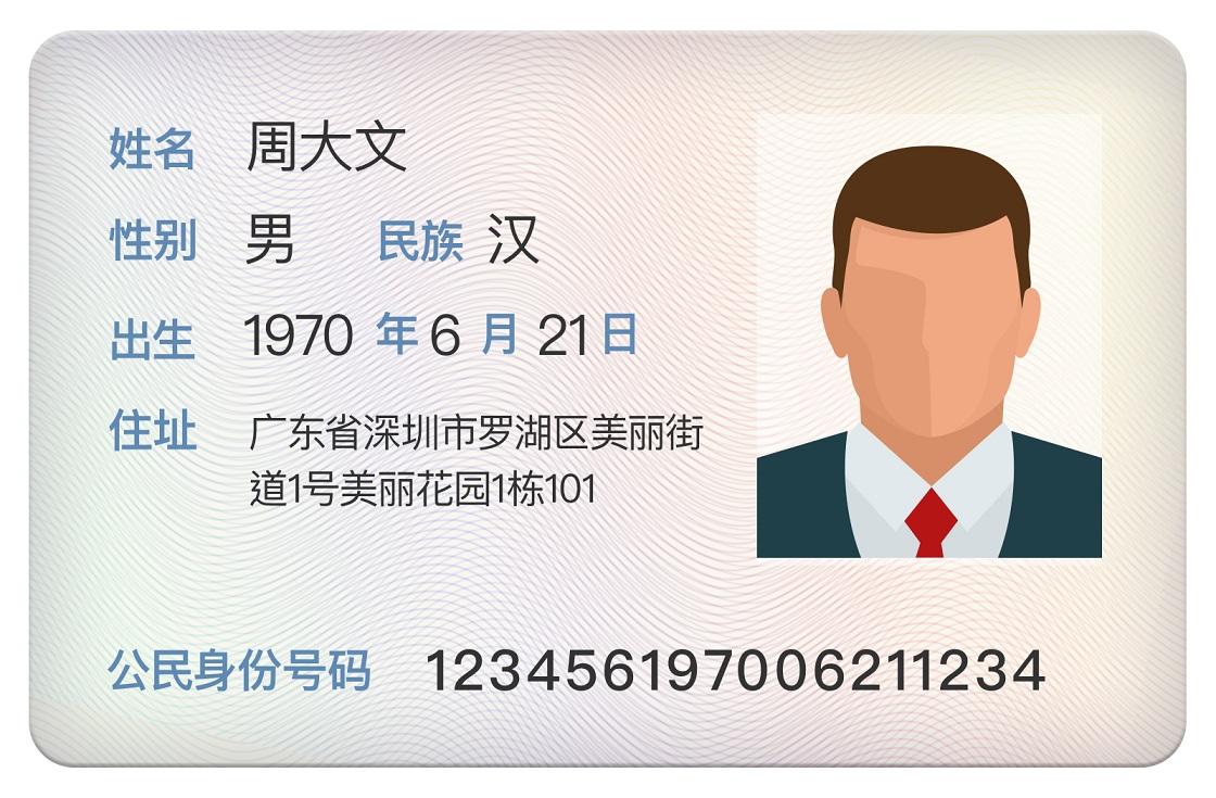 Payoneer验证文件-身份证正面范本