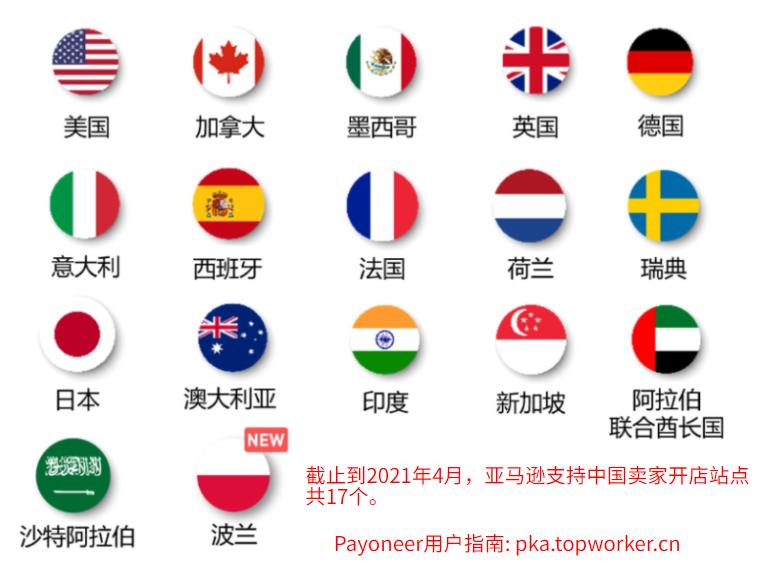 亚马逊17个站点对中国卖家开放2