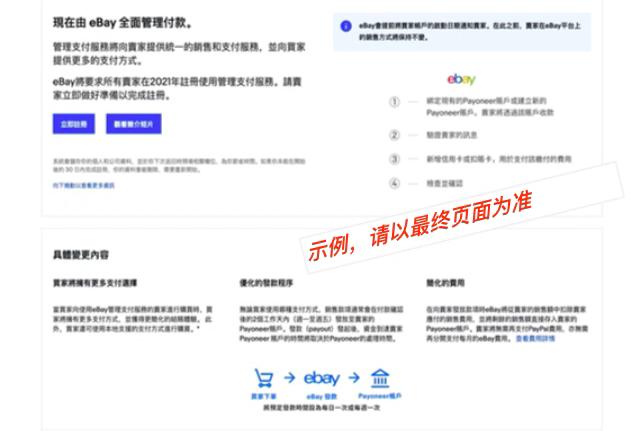 eBay后台开始注册管理支付服务