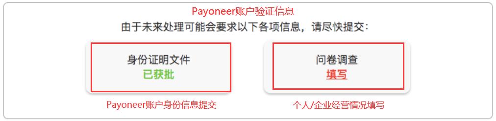 Payoneer调查问卷-个人或企业经营情况信息填写