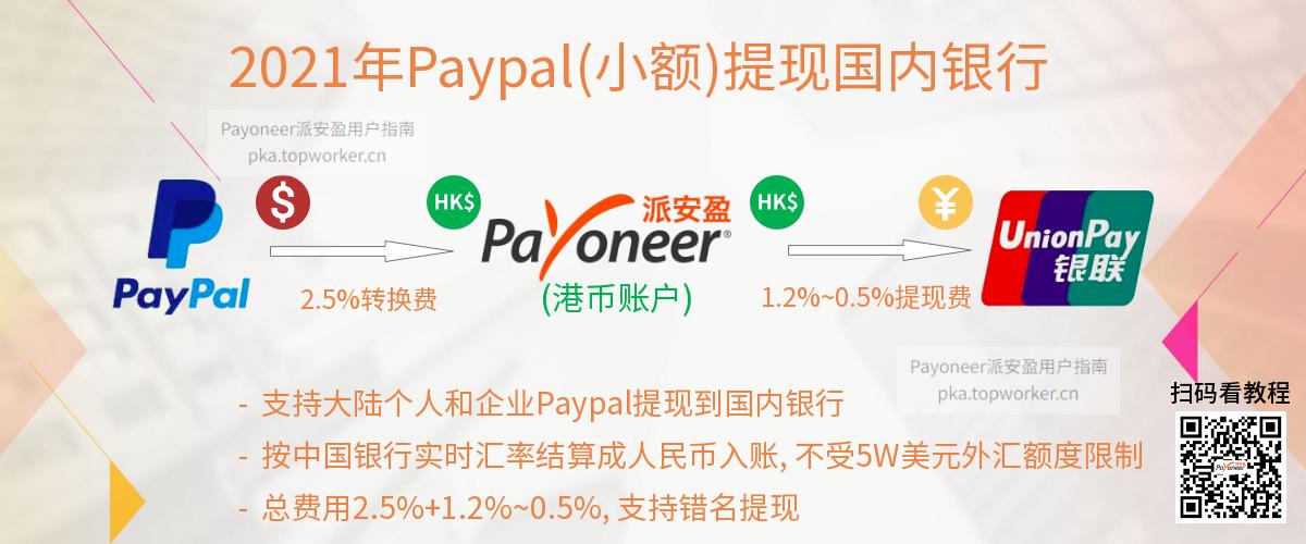 Paypal转账Payoneer港币账户提现国内银行