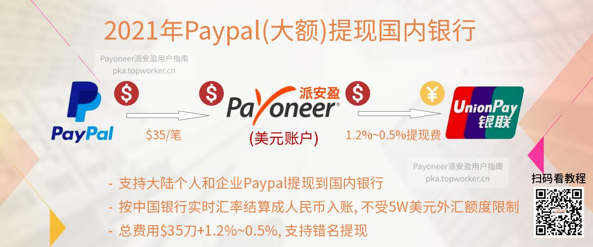 Paypal转账Payoneer美元账户提现国内银行