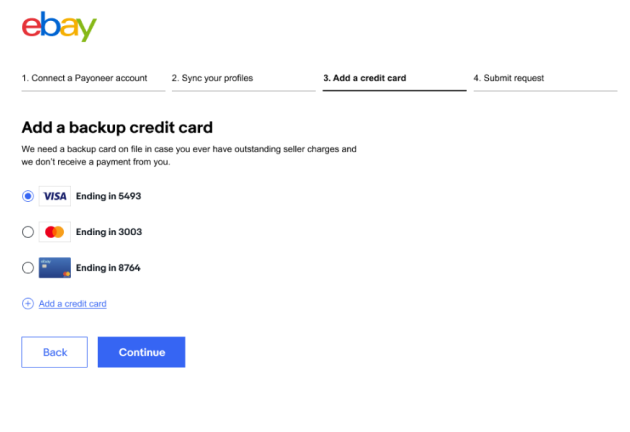 eBay后台绑定添加信用卡