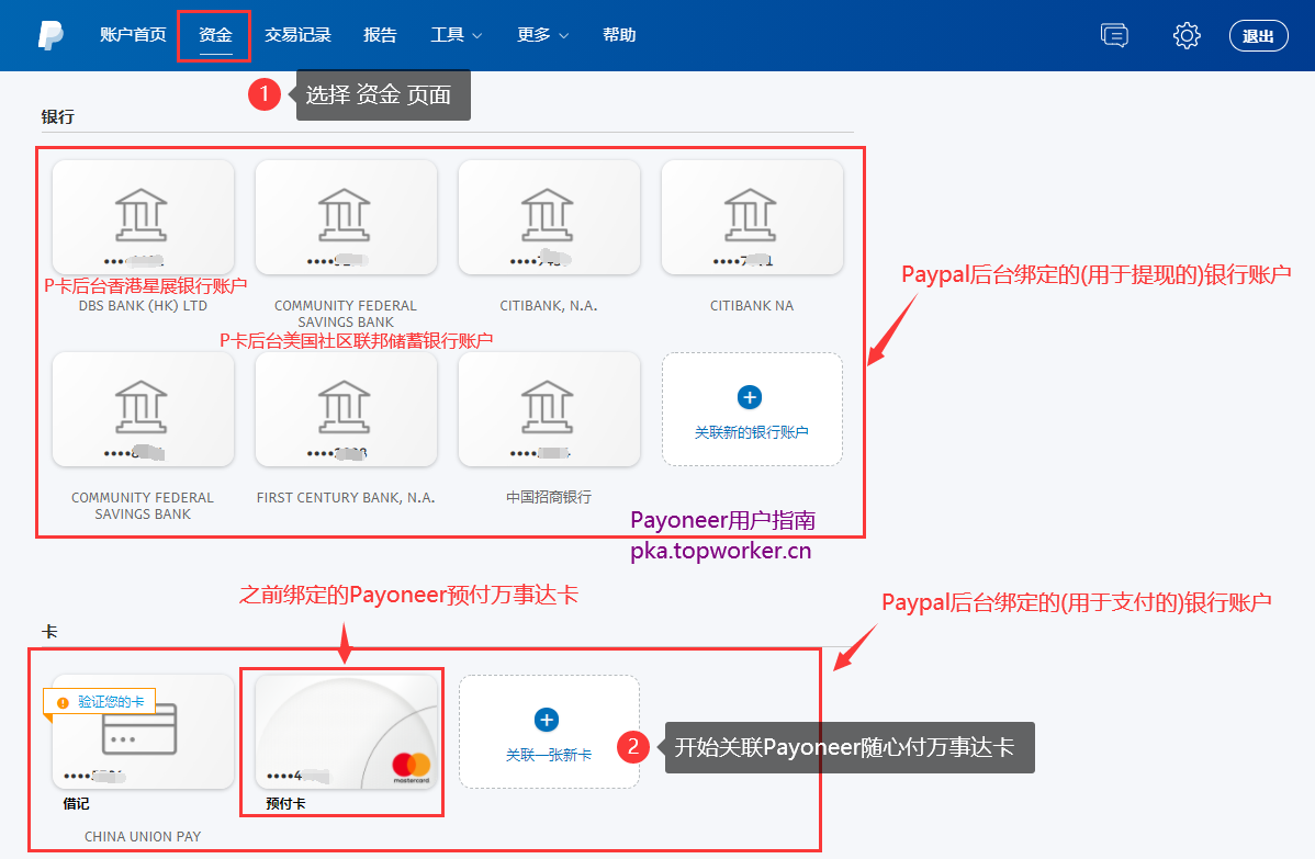 Paypal后台绑定银行账户信息